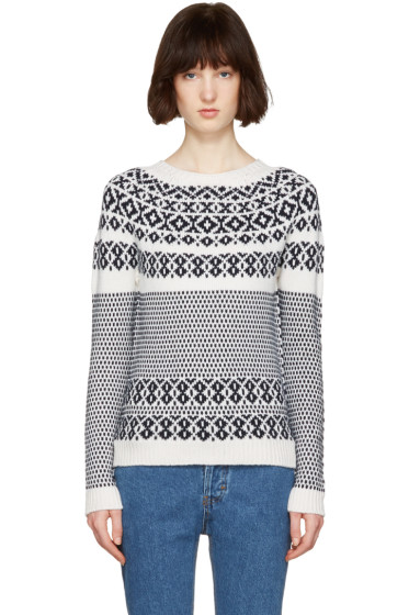A.P.C. - White & Navy Romy Après-Ski Sweater
