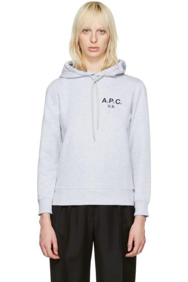A.P.C. - Grey US Logo Hoodie