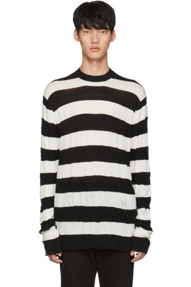 Junya Watanabe - Black & White Distressed Pullover