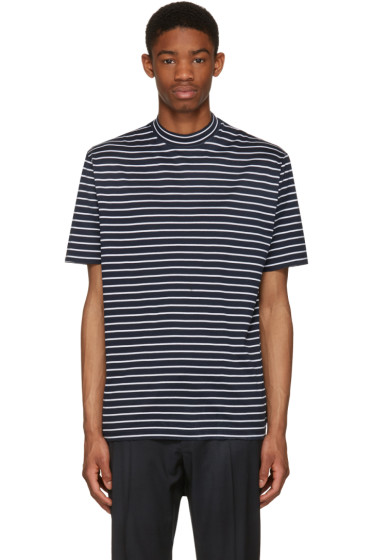 Lanvin - Navy Striped Mock Neck T-Shirt