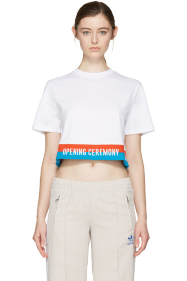 Opening Ceremony - White Cropped Elastic Logo T-Shirt