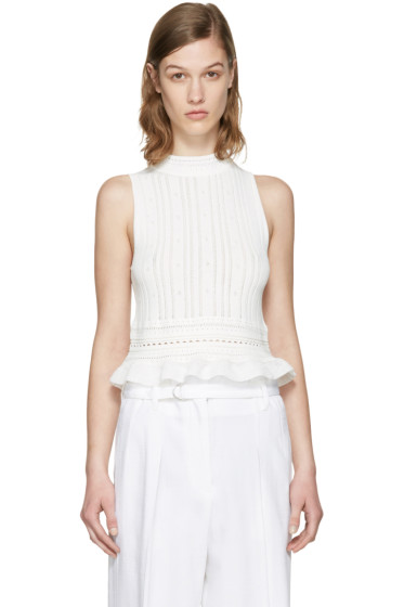 3.1 Phillip Lim - White Pointelle Cropped Tank Top