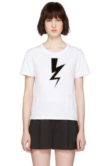 Neil Barrett - White Thunderbolt Patch T-Shirt