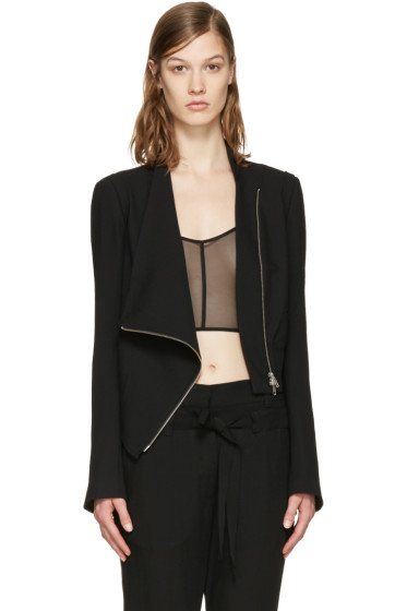Ann Demeulemeester - Black Wool Zip Jacket