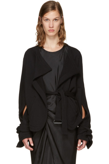 Ann Demeulemeester - Black Cotton Biker Jacket