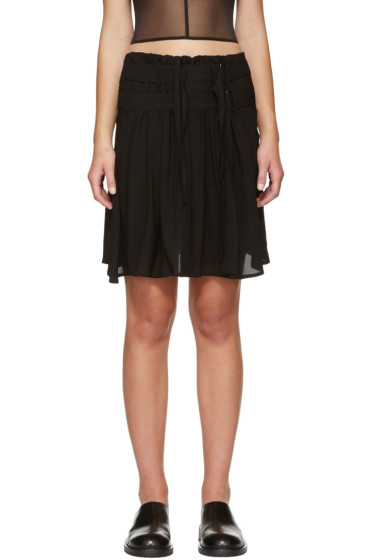 Ann Demeulemeester - Black Pleat Layer Miniskirt