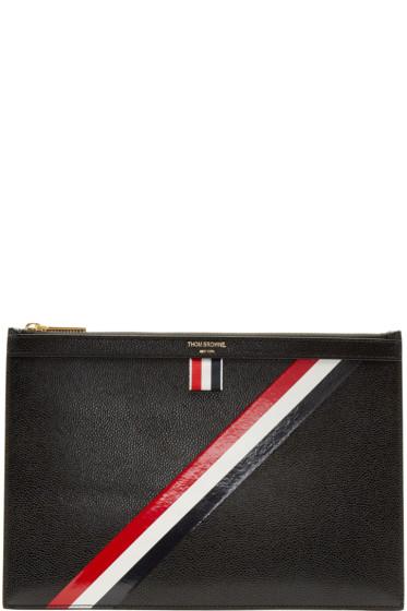Thom Browne - Black Small Diagonal Stripe Tablet Holder