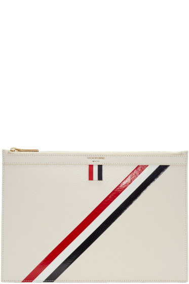 Thom Browne - Off-White Small Diagonal Stripe Tablet Holder