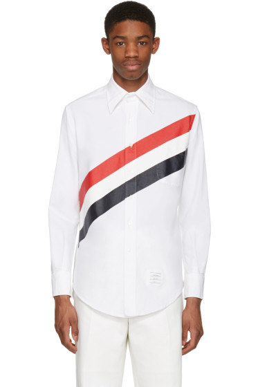 Thom Browne - White Diagonal Stripe Classic Shirt