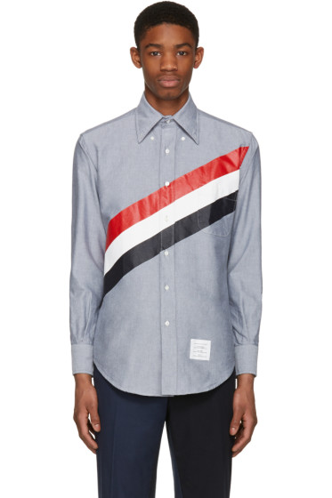 Thom Browne - Navy Diagonal Stripe Classic Shirt