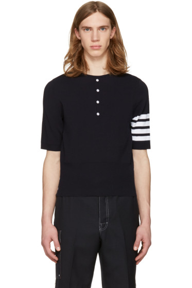 Thom Browne - Navy Trompe l'Oeil Four Bar T-Shirt