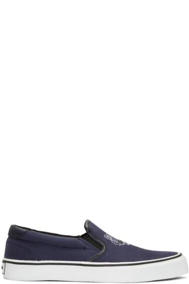Kenzo - Blue Tiger Slip-On Sneakers