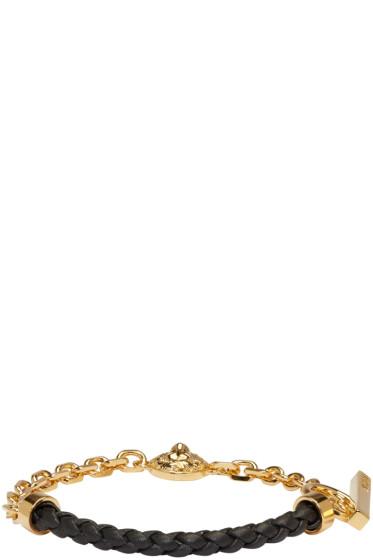 Versus - Gold & Black Half Braided Lion Bracelet