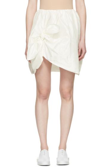 Simone Rocha - Ivory Silk Taffeta Ruffles & Knots Miniskirt