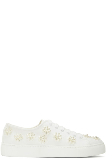 Simone Rocha - White Beaded Classic Canvas Sneakers