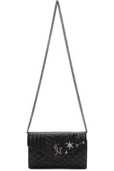 Saint Laurent - Sac portefeuille à monogramme noir Deconstructed Chain