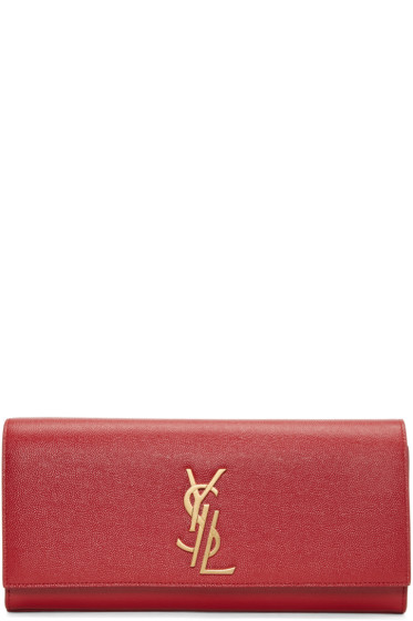 Saint Laurent - Pochette à monogramme rouge Deconstructed Kate