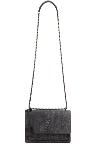 Saint Laurent - sac en denim à monogramme noir Medium Sunset