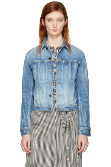 Saint Laurent - Blouson en denim bleu Military Patch