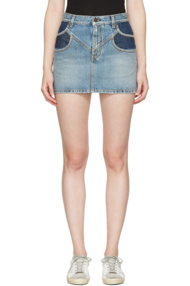 Saint Laurent - Mini-jupe en denim bleue Double Pocket