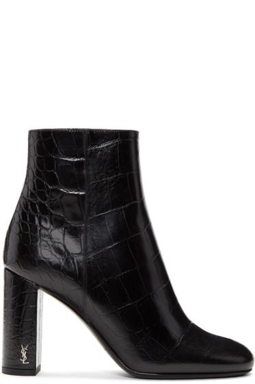 Saint Laurent - Black Croc-Embossed Loulou Boots