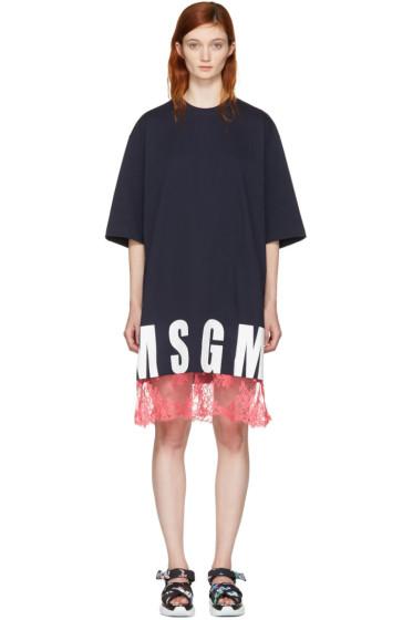 MSGM - ネイビー レース ヘム ロゴ T シャツ ドレス