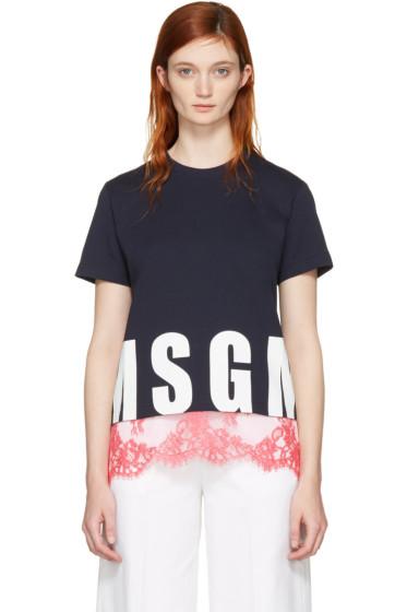 MSGM - ネイビー レース ヘム ロゴ T シャツ
