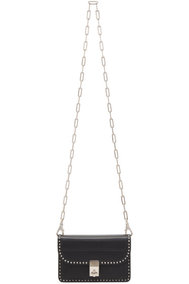 Valentino - Black Small Stud Stitching Wallet Chain Bag