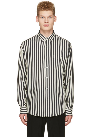 AMI Alexandre Mattiussi - Off-White Striped Patch Pocket Shirt