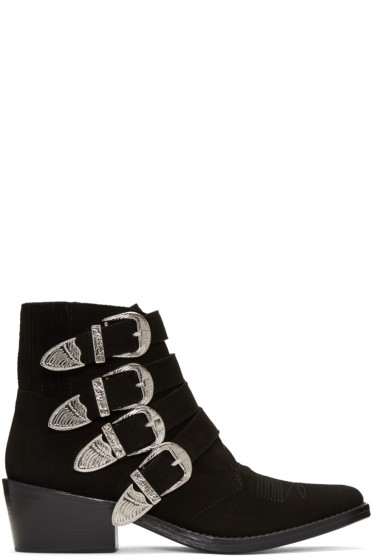 Toga Pulla - Black Suede Western Buckle Boots