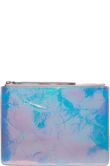 Kara - Iridescent Crinkled Leather Zip Pouch