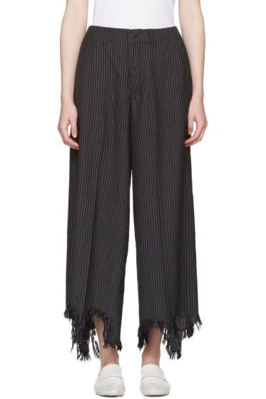 Facetasm - Black Pinstripe Torn Hem Trousers