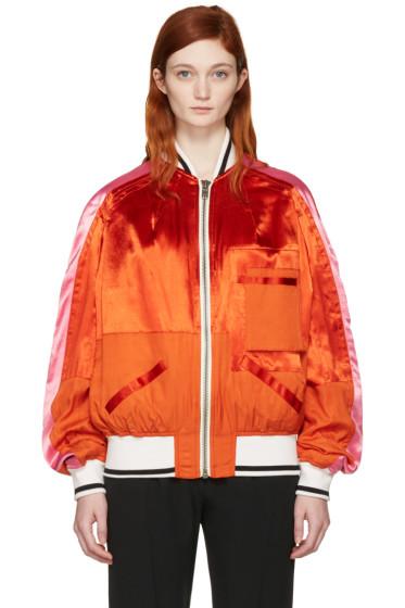 Haider Ackermann - Orange Patchwork Bomber Jacket