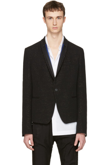 Haider Ackermann - Black Metallic Striped Lapel Blazer