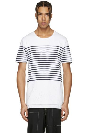 Miharayasuhiro - White Striped Distressed T-Shirt