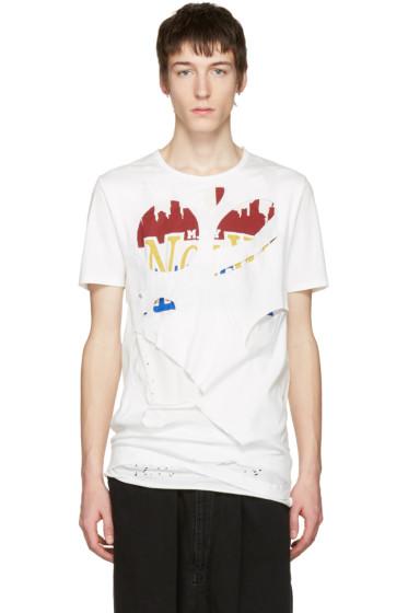 Miharayasuhiro - White Massive Hole and Print T-Shirt
