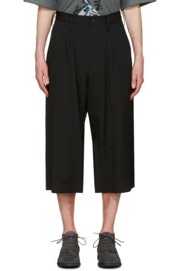 Yohji Yamamoto - Black Wide-Leg Cropped Trousers