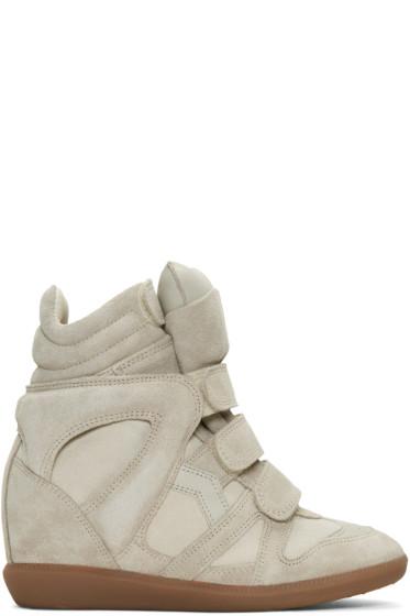 Isabel Marant - Ecru Suede Beckett Wedge Sneakers
