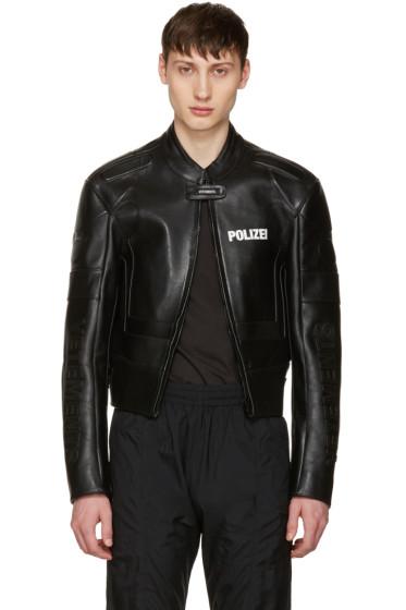 Vetements - Black Leather Racing Jacket