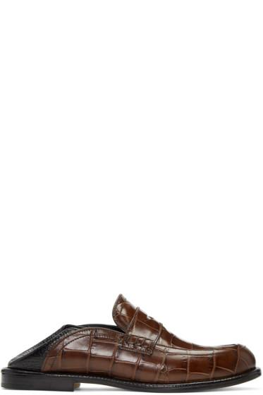 Loewe - Brown & Black Slip-On Loafers