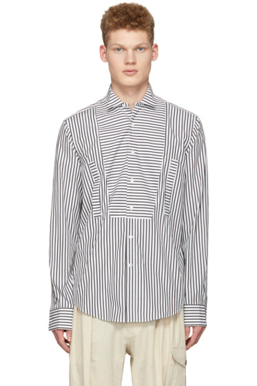 Loewe - Black & White Striped Bib Shirt