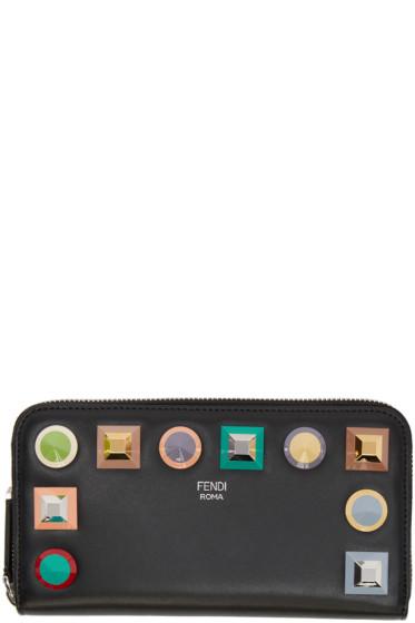 Fendi - ブラック レインボー 2 ジュール ジップ ウォレット