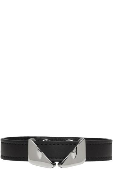 Fendi - Black Leather 'Bag Bugs' Bracelet