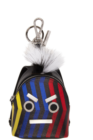 Fendi - Black 'Fendi Faces' Backpack Keychain