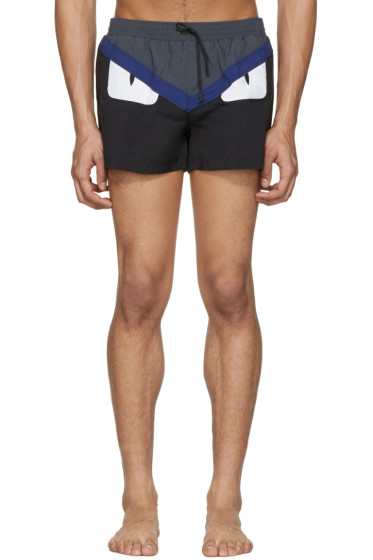 Fendi - Black 'Bag Bugs' Swim Shorts