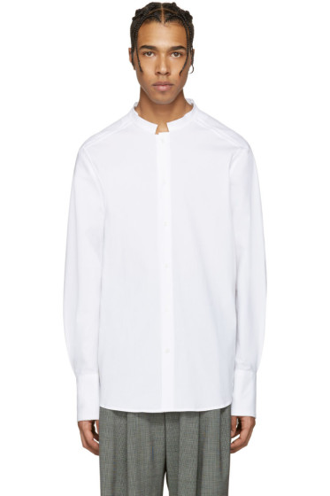 Wooyoungmi - ホワイト シアサッカー ノー カラー シャツ