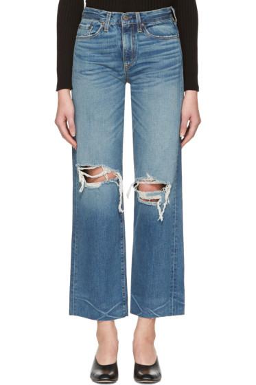 Simon Miller - Indigo Basin Cropped Frayed Jeans