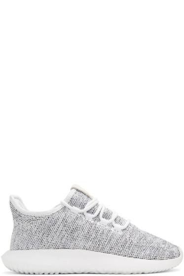adidas Originals - ホワイト ニット チューブラー シャドー スニーカー