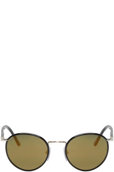 Persol - Black & Gold Round Sunglasses
