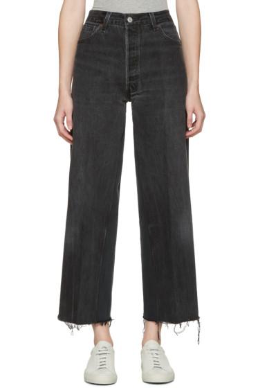 Re/Done - Black High-Rise Wide-Leg Crop Jeans